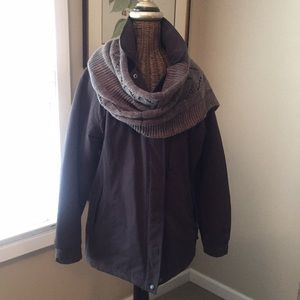 Columbia all weather jacket and knit scarf
